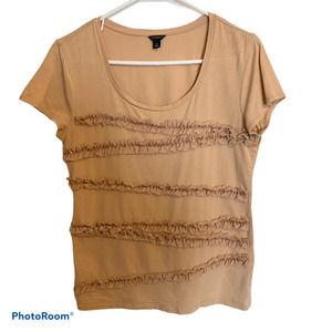 Ann Taylor Nude Shirt with Lace